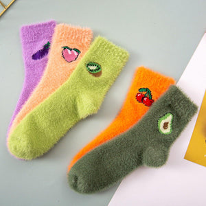 Indoor Fluffy Fuzzy Warm Comfy Fruits Embroidery Socks
