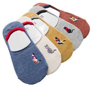5 Pair Colorful Cat Embroidery NoShow Socks