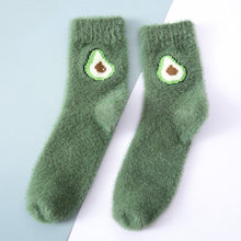 Load image into Gallery viewer, Indoor Fluffy Fuzzy Warm Comfy Fruits Embroidery Socks