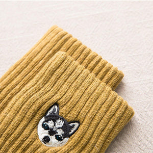 6 Pair Puppy Embroidery Warm Cozy Adorable Socks - Fall/Winter