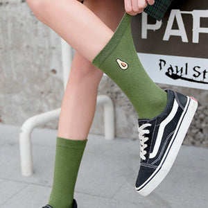 Fruit Embroidery Cotton Blend Crew Socks