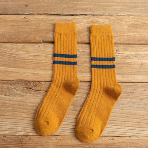 2 Mid Calf Stripe Wool Blend Stylish Comfy Light Socks