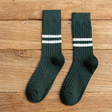 Load image into Gallery viewer, 2 Mid Calf Stripe Wool Blend Stylish Comfy Light Socks
