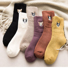 Load image into Gallery viewer, 6 Pair Puppy Embroidery Warm Cozy Adorable Socks - Fall/Winter