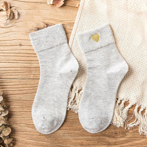 Love Embroidery Comfortable Warm Crew Socks - Fall/Winter