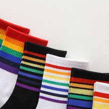Load image into Gallery viewer, Black/White Rainbow Stripes Crew Socks