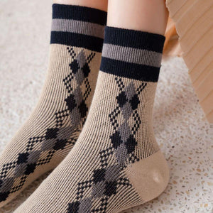 5 Pair Plaid Two Stripe Top Combed Cotton Crew Socks - MoSocks