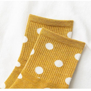 5 Pair White Polka Dot Cotton Blend Crew Socks - MoSocks