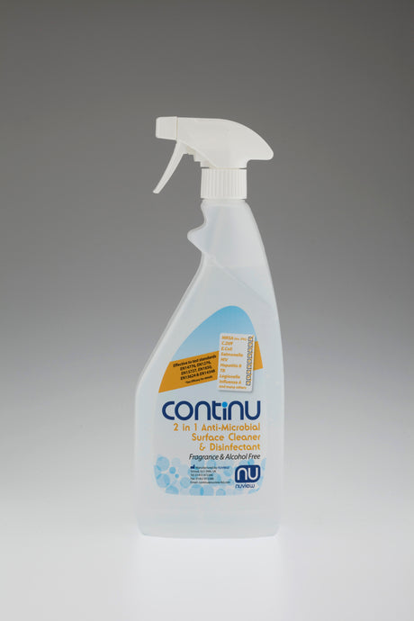 CONTINU 2 in 1 Alcohol Free Anti-Microbial Surface Disinfectant 750ml Trigger Spray Box 6 ( £4.38 each )