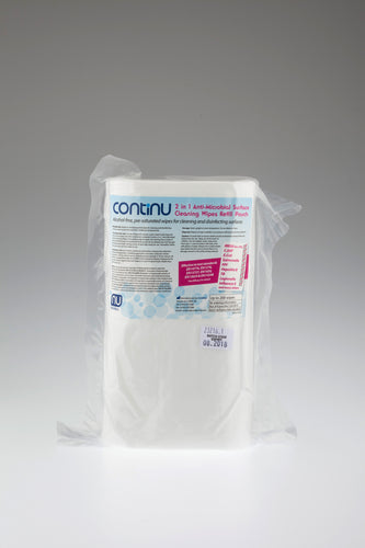 CONTINU 2 in 1 Alcohol Free Anti-Microbial Wipe Refills Case of 8 (£4.87 each)