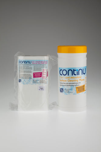 CONTINU 2 in 1 Alcohol Free Anti-Microbial Wipes Case of 6 Tubs (£5.60 per tub)