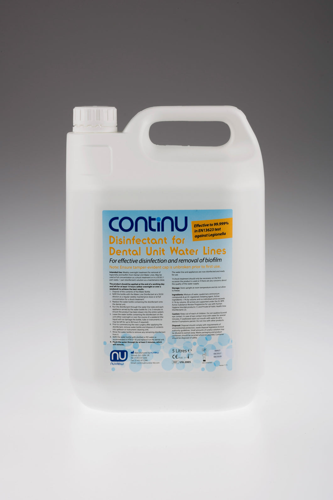 CONTINU Disinfectant for Dental Unit Water Lines 5L - 10 weeks worth