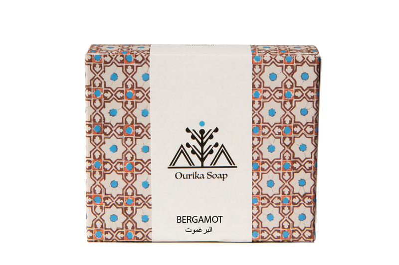 Organic Bergamot Ourika Soap Casablanca bar in Moroccan  Tile Packaging