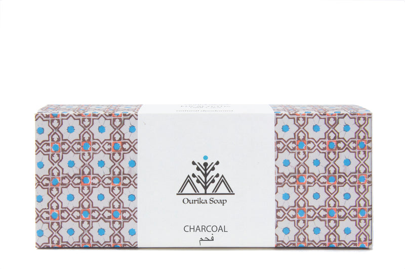 Charcoal Marrakech  Jewel Soap on a Rope. Moroccan tile packaging