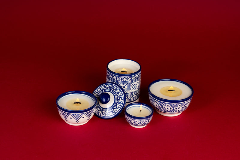 Ceramic Moroccan Candles lit with wood wick