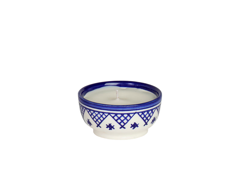 Ceramic Moroccan Candle with wood wick  Eucalyptus Scent