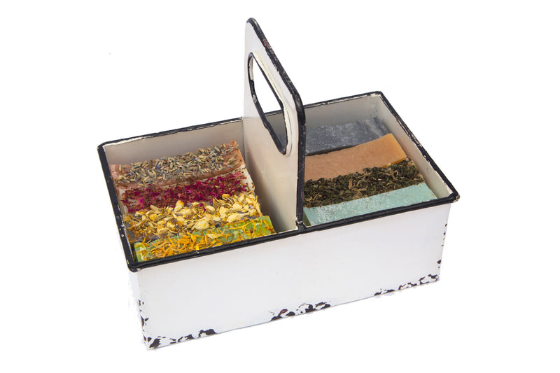 A Metal rustic Tray with 8 Organic Luxurious Moroccan  Casablanca Soap Topped with Herbs and Flowers