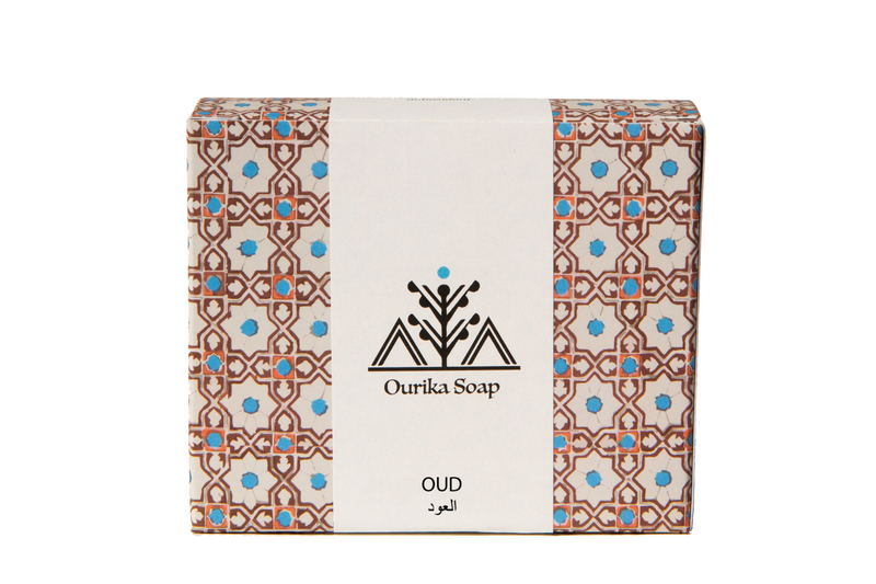 Organic Oud Casablanca Soap Bar in Moroccan tile box