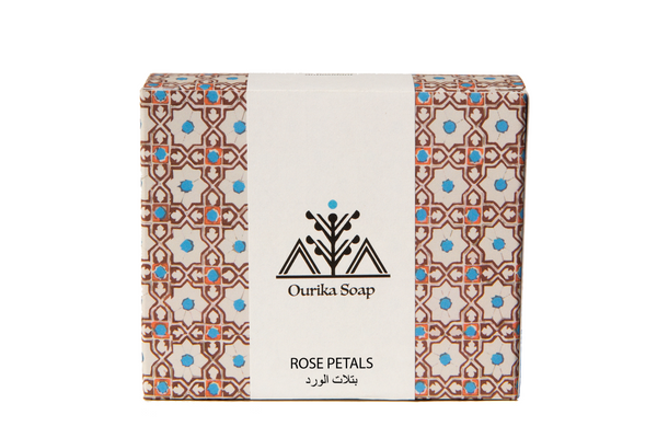 Rose Petals  Casablanca  Natural  Organic Soap Bar in Moroccan Tile Packaging