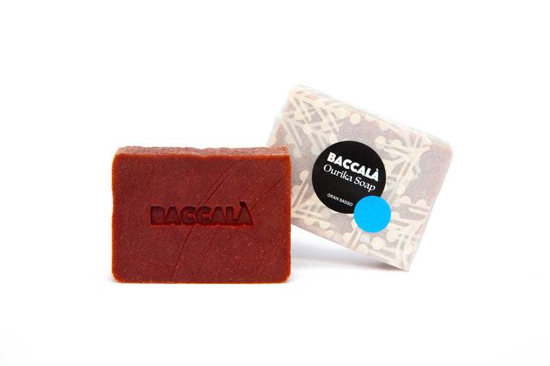 Baccala Magazine Madder Root Soap with Packaging Made by Ourika Soap