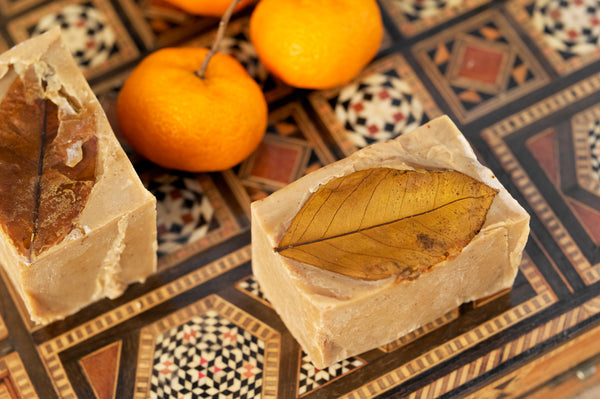Organic Handcrafted Oud Casablanca Soap Bar. Exfoliating Natural Loofah .  Mood Shot