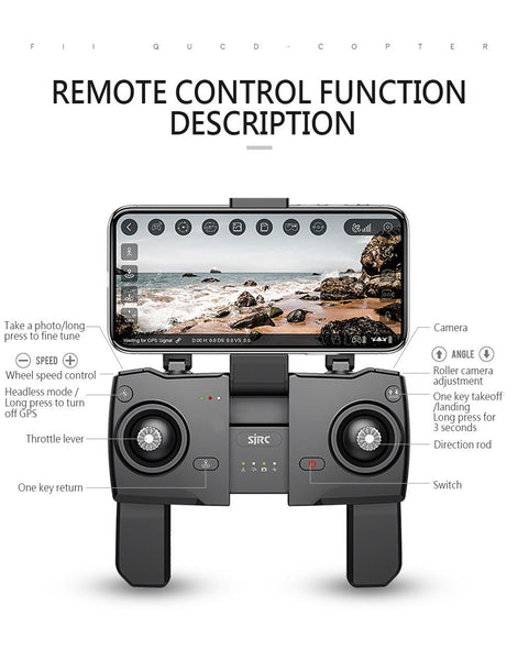 Selfie Drone With GPS 1080P Wide-Angle Camera Gesture Shots