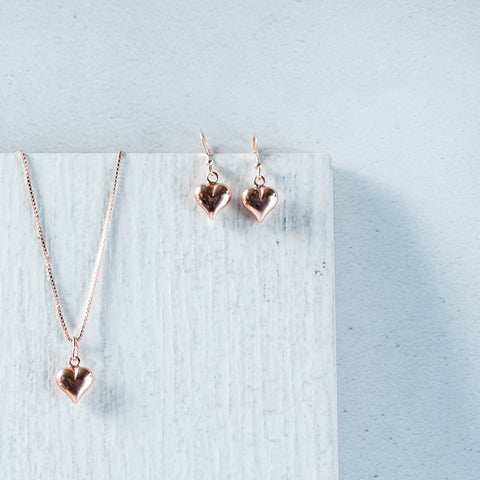 Rose Gold Puff Heart Pendant