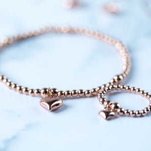 Rose Gold Puff Heart Bracelet