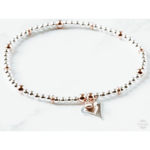Jolu Jewellery Olivia 2 Hearts Rose Gold Mix Chloe Bracelet