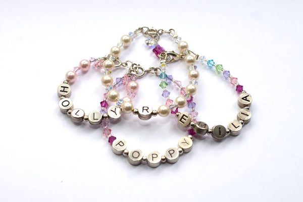 Personalised Name Bracelet in Pearl & Crystal