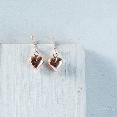 Rose Gold Puff Heart Earrings