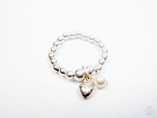 Mia Heart & Pearl Stretch Ring