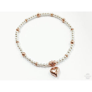 Puff Heart Rose Gold Mix Chloe Bracelet