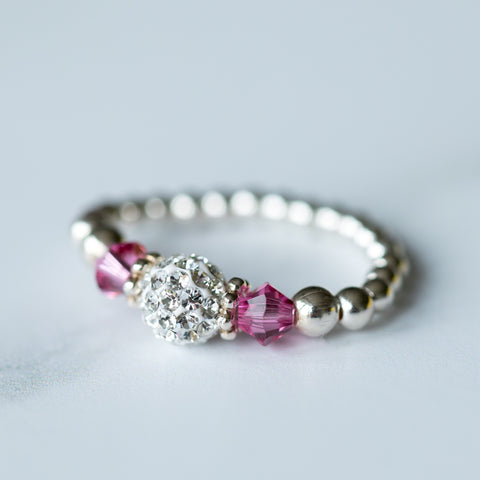 Tiffany Rose Pink Stretch Ring (October Birthstone)