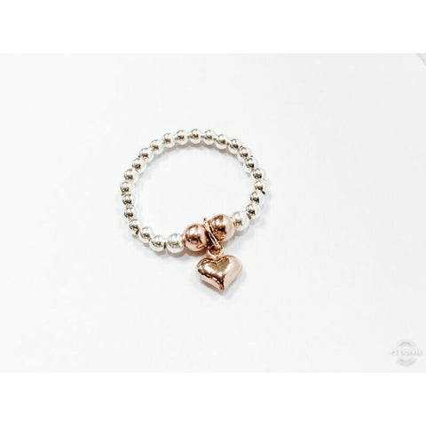 Mia Heart Rose Gold Mix Stretch Ring
