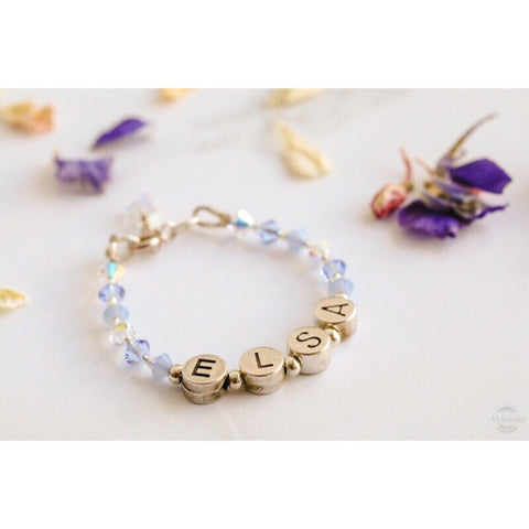 Personalised Name Bracelet in Ice Blue Mix