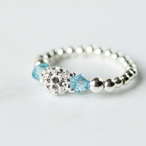Tiffany Aquamarine Stretch Ring (March Birthstone)