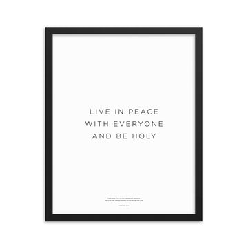 Live In Peace... Framed Print