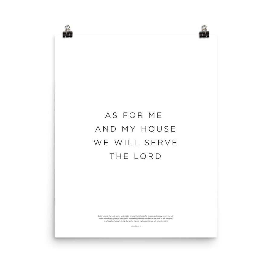 As For Me And My House... Print