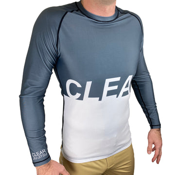 Clear Jiu Jitsu BJJ Rash Guard White and Gray