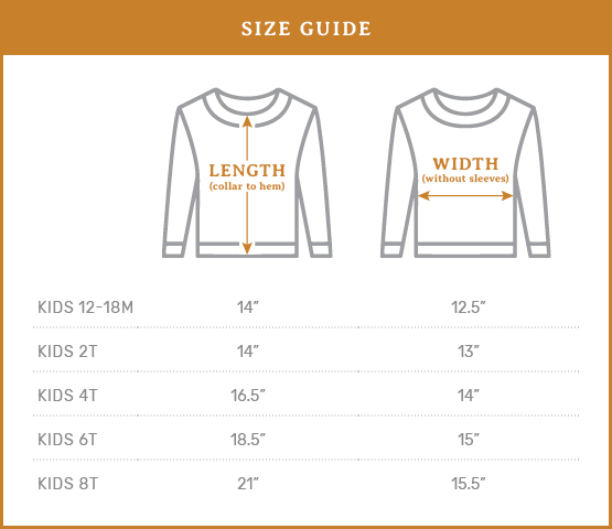 Ramble & Co. Size Guide - USA Made Sweaters - Kids