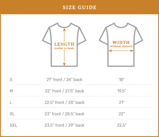 Ramble & Co. Size Guide - USA Made High Low Tee