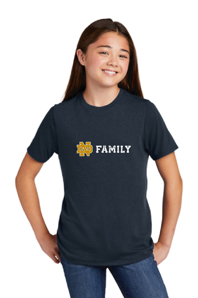 nd family kids chest logo tee hand screenprinted ramble and company