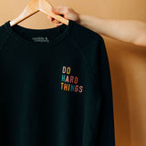 the do hard things raglan | blue graphite
