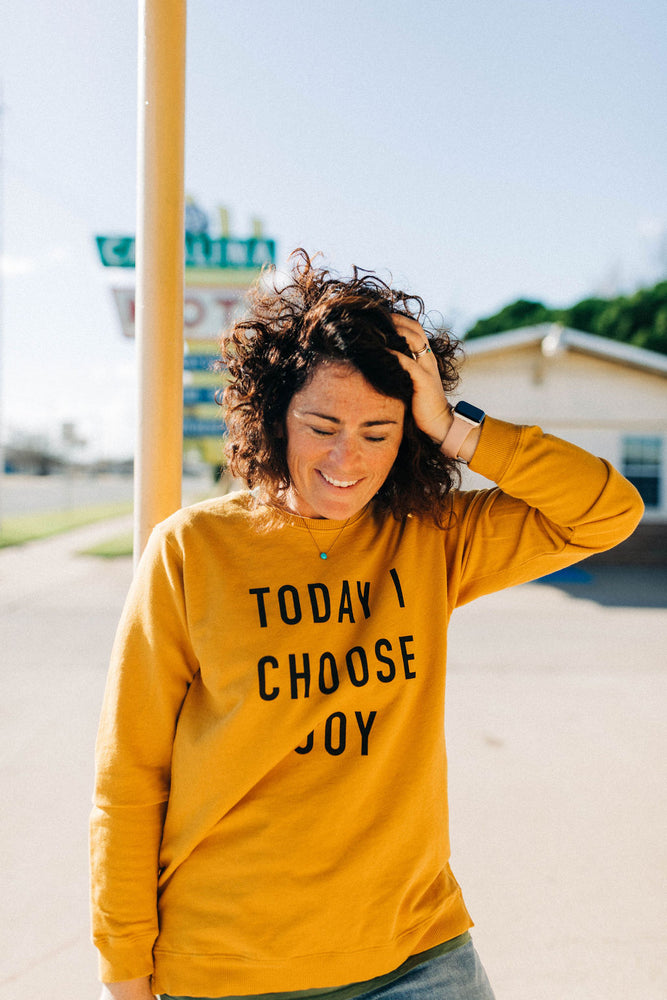 the today i choose joy sweatshirt | side slit