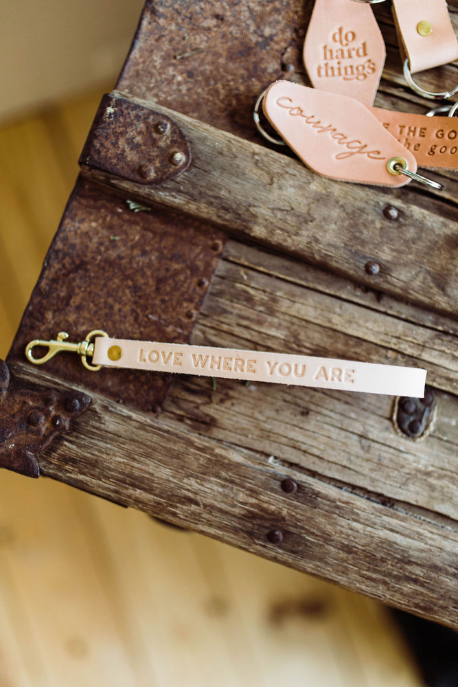 love where you are | leather wrist key fob