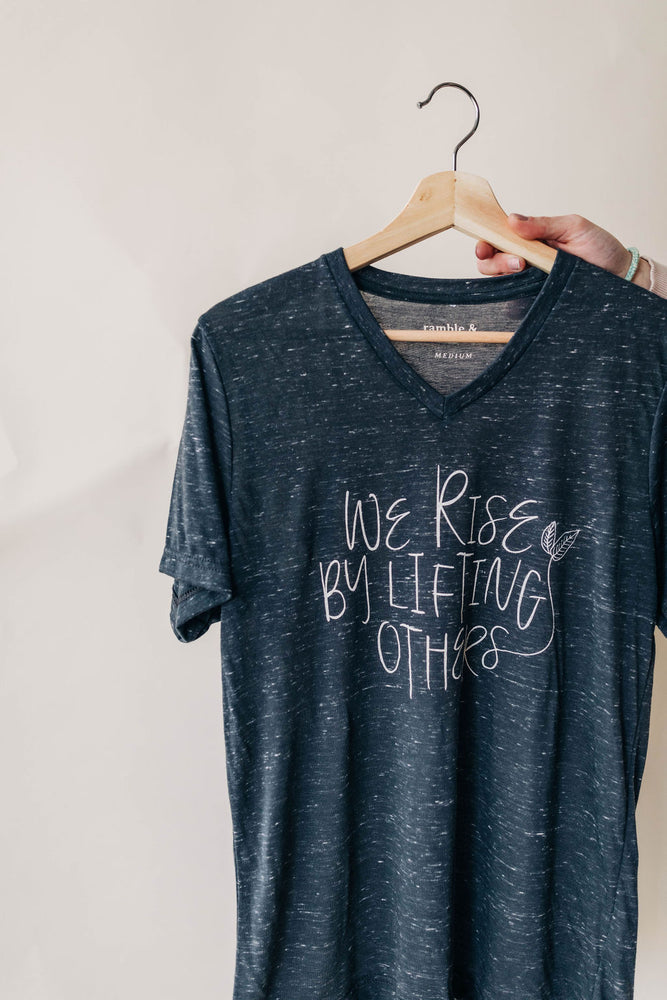 we rise v-neck in grey