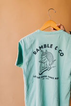 Load image into Gallery viewer, Ramble and Company's let the good times roll armadillo on scooter vintage slim fit unisex soft comfortable inspirational graphic t-shirt  in harbor gray light blue color close up back view
