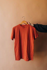 Ramble and Company's basic blank soft comfortable unisex t-shirt in ginger spice burnt orange