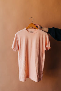 Ramble and Company's basic blank soft comfortable unisex t-shirt in apricot pale peach